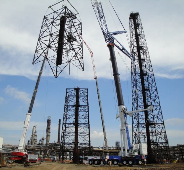 Picture Large section of Tower Dismantled and Rigged to Ground